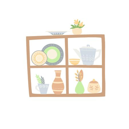 Simple wooden shelves with home cookware. Fireside comfort. A cute composition with ceramic dishes.