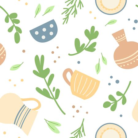 Seamless pattern with cute home ceramic dishes and herbs. 스톡 콘텐츠 - 143959487