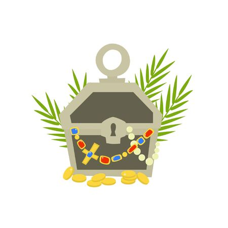 The chest is filled with treasures. Coins are scattered on the ground. Palm leaves are in the background. 일러스트
