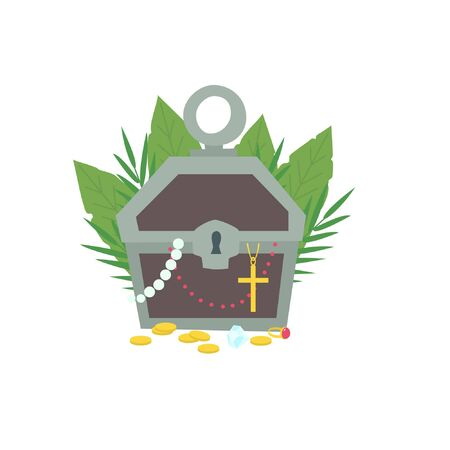 Chest and scattered treasures on the ground. Tropical leaves are in the background Illustration