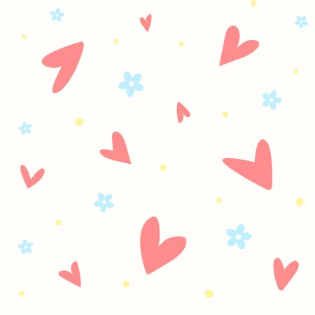 A seamless pattern with hearts and flowers 스톡 콘텐츠 - 143959486