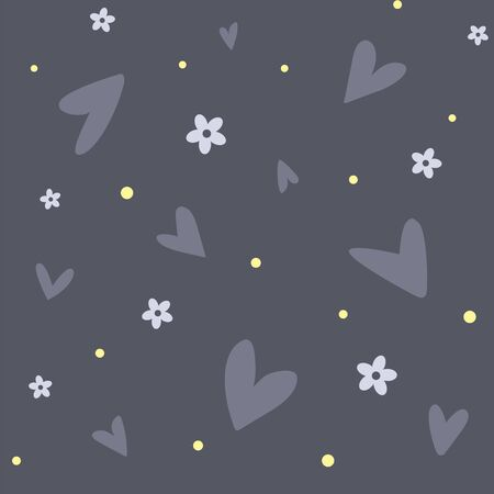 A seamless pattern with hearts and flowers