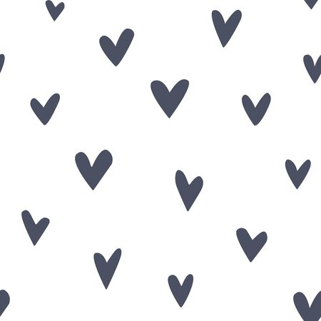 Simple seamless pattern with hand-drawn hearts. Black and white background. Abstract minimalist art 스톡 콘텐츠 - 143959490