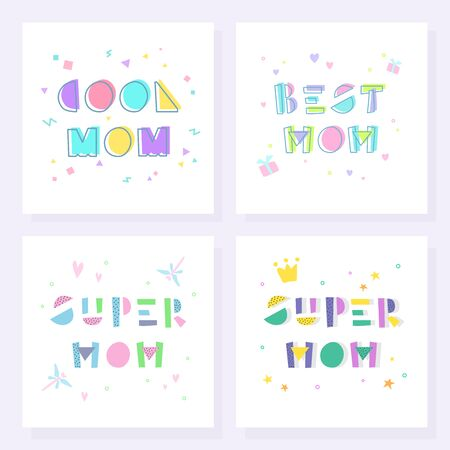 Mother's Day poster collection. Super mom, best mom, cool mom. 일러스트