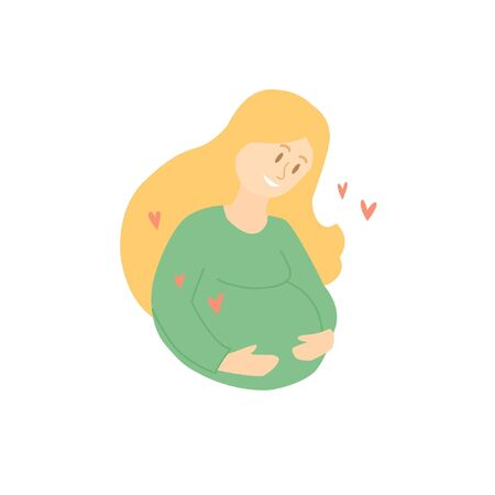 Pregnant woman with long hair hugs herself by the belly. Motherhood. Waiting for a baby 일러스트