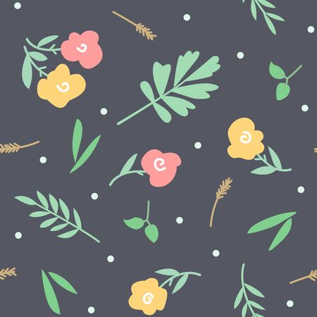 Seamless pattern with flowers, leaves, herbs, twigs Vettoriali