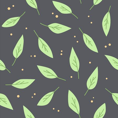 Trees leaves background. Seamless pattern with leaves on a dark background.