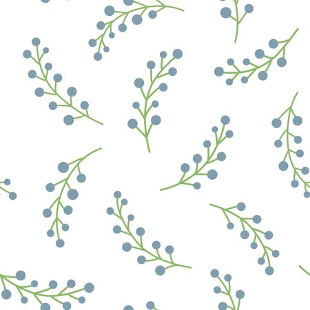 Seamless pattern with sprigs of berries. Berries are on a white background Vettoriali
