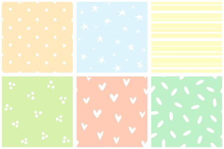 Collection of simple patterns. Polka dots, stars, hearts, stripes, spots, rice. Muted delicate colors Vettoriali