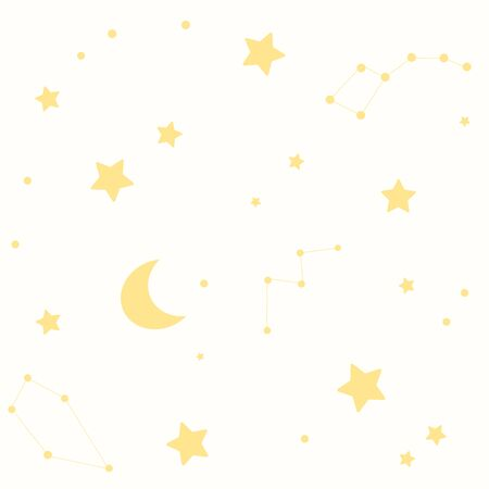 A seamless pattern with stars, constellations and the moon. A light background Vettoriali