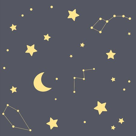 A seamless pattern with stars, constellations and the moon. A dark background 스톡 콘텐츠 - 143959499