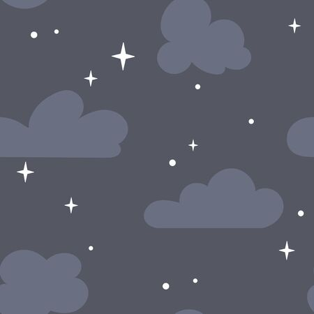 A seamless pattern with clouds and stars in the sky. A dark background Vettoriali