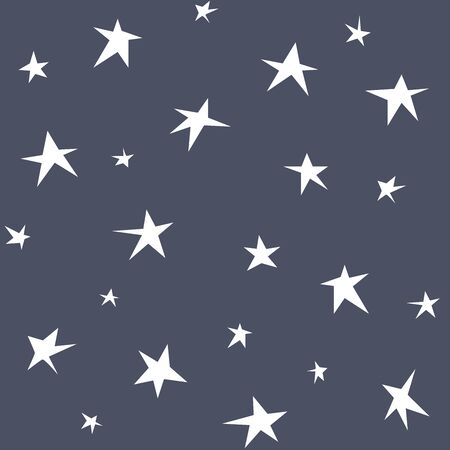 Seamless pattern with hand-drawn stars. Black and white background. Minimalistic style