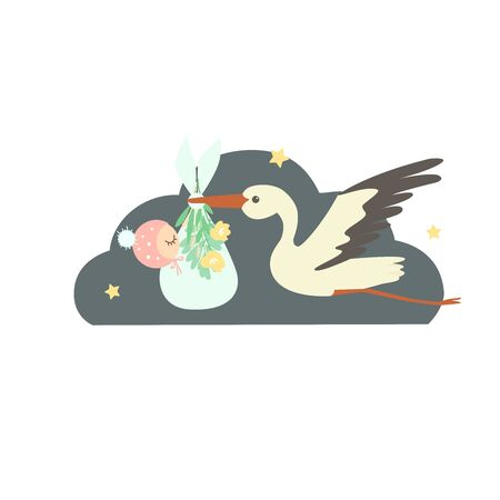 A cute cartoon stork carries a newborn in a diaper. The diaper is decorated with flowers and leaves. The stork flies in the night sky. 스톡 콘텐츠 - 143959503