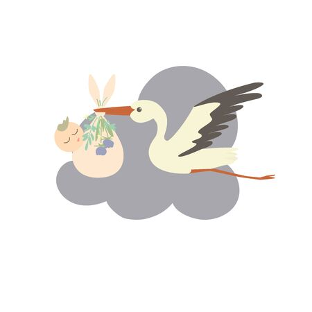 A cartoon stork carries a sleeping baby wrapped in a diaper. The diaper is decorated with flowers and leaves.