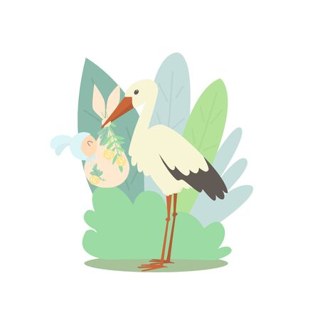 A stork holds a bag with a newborn baby.  The child wears a hat with bunny ears. The background is full of large leaves Ilustração