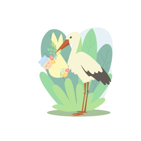 A stork holds a newborn in a bag decorated with flowers. The background is decorated with natural elements. 스톡 콘텐츠 - 143384644