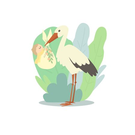 A cute stork holds a nappy with a newborn baby. The background is full of large leaves
