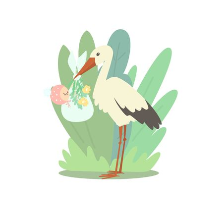 A stork is holding a diaper with a sleeping baby in its beak. The child is dressed in a cute hat.