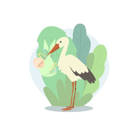 A stork holds a newborn in a bag decorated with plants. The background is full of large leaves