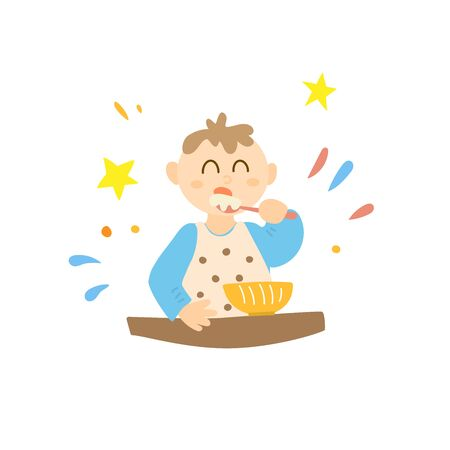A baby eats with a spoon on his own. Little victory. A child learns important skills Vettoriali