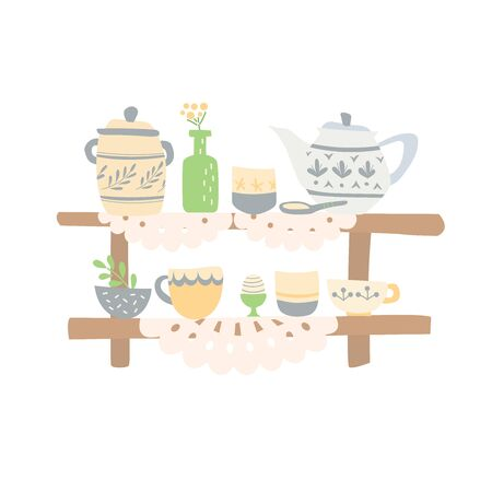 Home ceramic dishes are on the shelves. Cute hand made napkins cover wooden shelves. Home comfort 스톡 콘텐츠 - 143959592