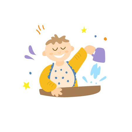 A baby pours water from a mug. Game skills training. Games at the table while eating. 스톡 콘텐츠 - 146106961