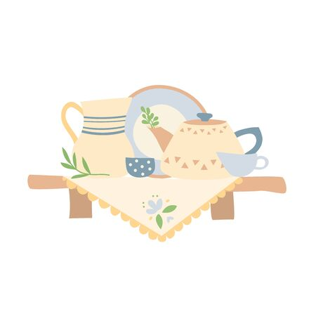A simple shelf is covered with a tablecloth. Ceramic dishes are on the shelf. Homeliness. 스톡 콘텐츠 - 146047003