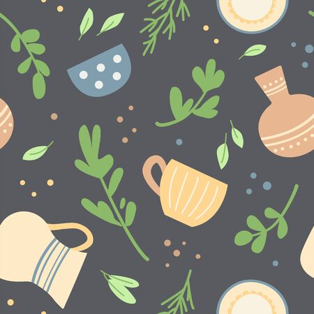 Seamless pattern with cute home ceramic dishes and herbs. Vettoriali