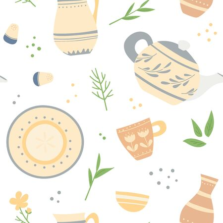 Seamless pattern of ceramic dishes with hand-made patterns and plants.
