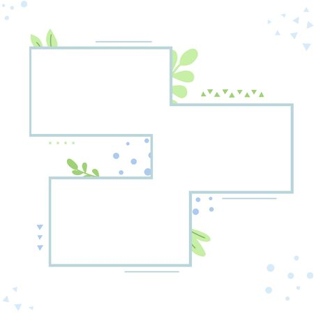 Three backgrounds decorated with ornaments and plants. Empty space for ads, advertisements, pictures.  Vettoriali