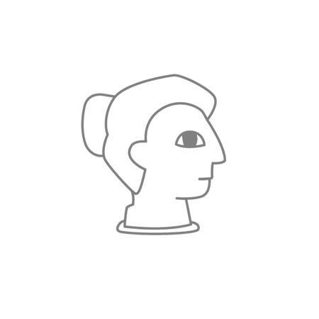 Linear image of a girl's head. Female bust vector illustration. Greek profile.
