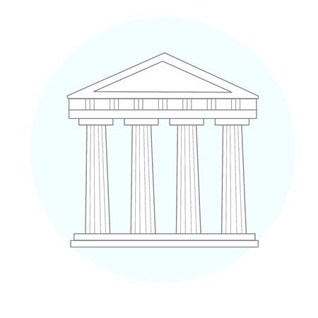 A Greek Antique temple. A monument of ancient culture. Symbol of ancient civilization.  Linear style.  sign, trademark. 일러스트
