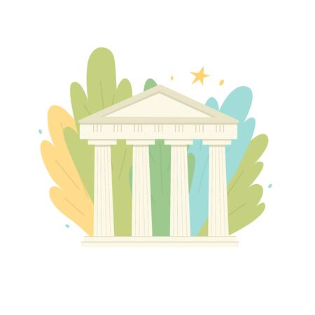 An ancient building with columns. Ancient Greek and Roman culture. Monument of ancient culture. European civilization. Heritage. The background is abstract colored large leaves. 일러스트