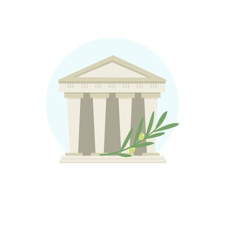 A classic style building. A historic building with columns. Olive branch. Symbols of Greek culture.  sign, trademark 스톡 콘텐츠 - 146106969