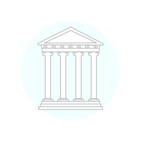 A Greek Antique temple. A historic building with columns. A monument of ancient culture. Linear style.   sign, trademark.