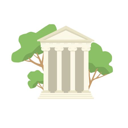 A historic building with columns. A monument of ancient culture. A Greek Antique temple. Symbol of ancient civilization. Trees are in the background