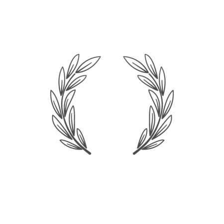 Laurel wreath. Symbol of victory, greatness, glory and power.  Ancient tradition.  sign, trademark. Vettoriali