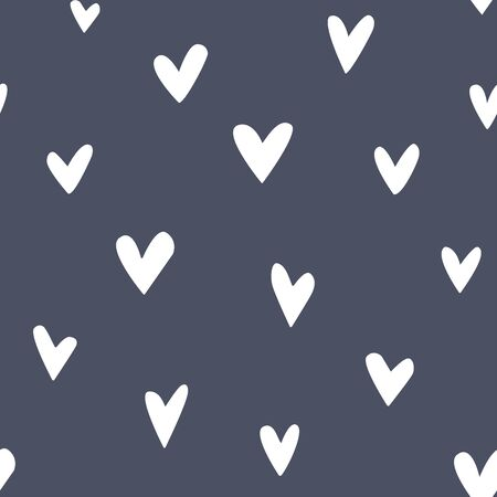 Simple seamless pattern with hand-drawn hearts. Black and white background. Abstract minimalist art