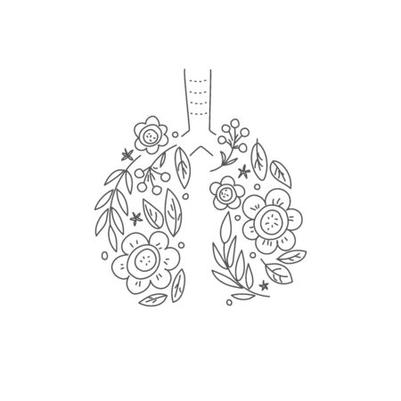 Lungs vector. Human internal organ. Linear doodle style. Ornament of leaves and flowers Vettoriali