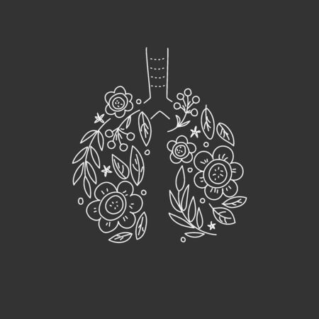 Lungs vector. Human internal organ. Linear doodle style. Ornament of leaves and flowers. Black background Vettoriali