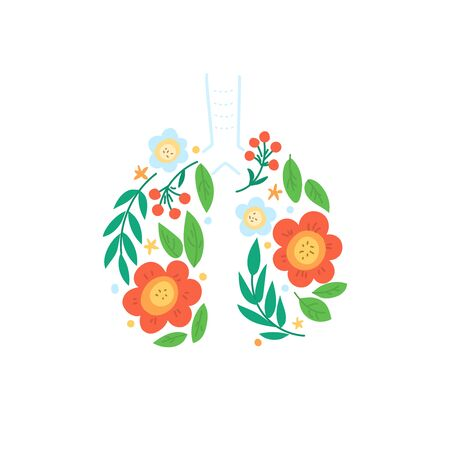 Lungs vector. Human internal organ. Ornament of leaves and flowers