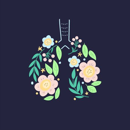 Lungs vector. Human internal organ. Ornament of leaves and flowers. Black background Vettoriali