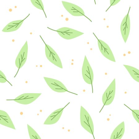 Green leaves are on a white background. A seamless pattern with leaves.