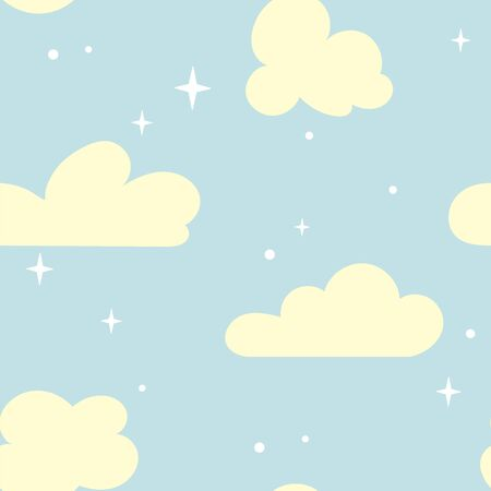 seamless pattern with clouds and stars in the sky. A light background