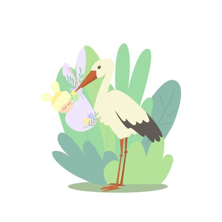 A cartoon stork is holding a diaper with a baby in its beak. The background is full of large leaves