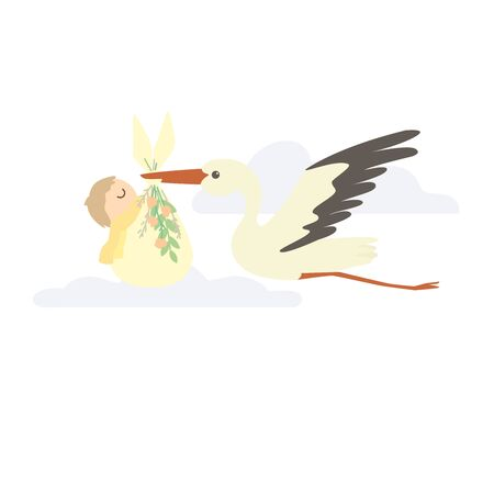 A stork carries a newborn in a bag decorated with flowers 스톡 콘텐츠 - 146047090