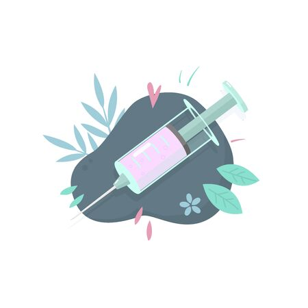 Medical syringe with a dose of medicine, vaccine, vitamin. Cartoon style. Health care, treatment, vaccination. Medical equipment. Coronovirus injection. Stock vector illustration 일러스트