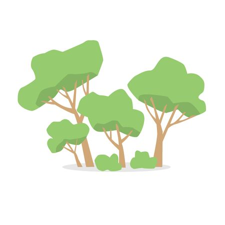 Several green trees and bushes. Forest, reserve, park, square. Cartoon style.