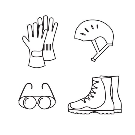 Special protective clothing for sports in the mountains. Line design. Helmet, glasses, gloves, boots.